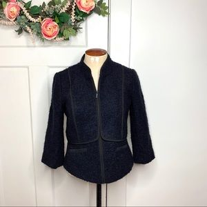 Classiques Entier Wool Alpaca Navy Blazer Jacket